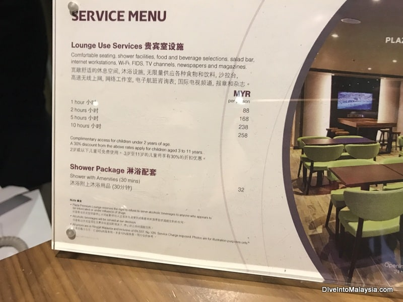plaza premium lounge klia2 prices