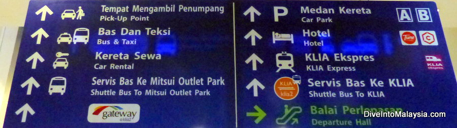 klia klia2 transportation signs. KLIA 1 to KLIA 2
