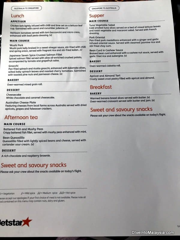 The Jetstar business class menu