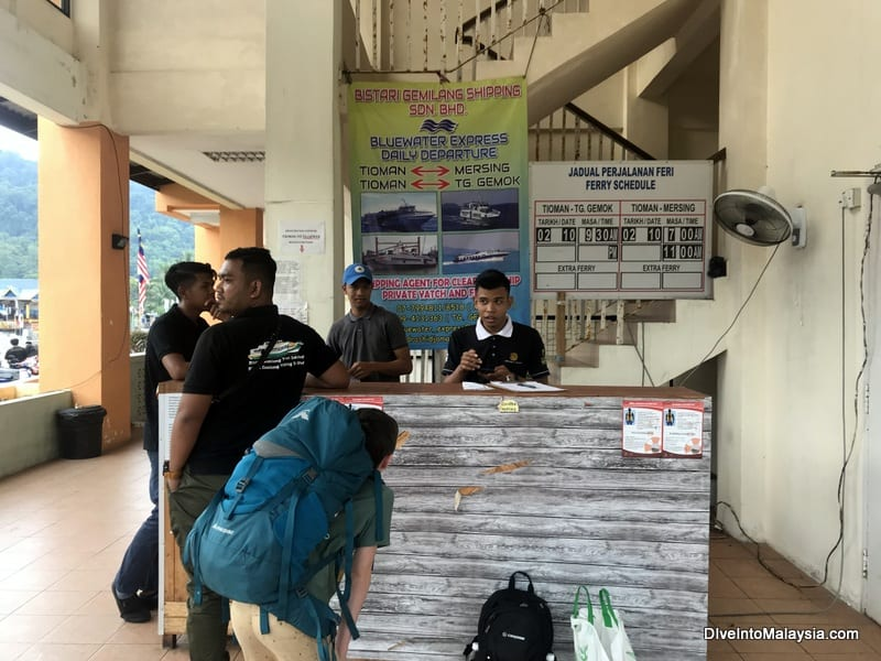 The ticketing desk at Tekek, Tioman Island