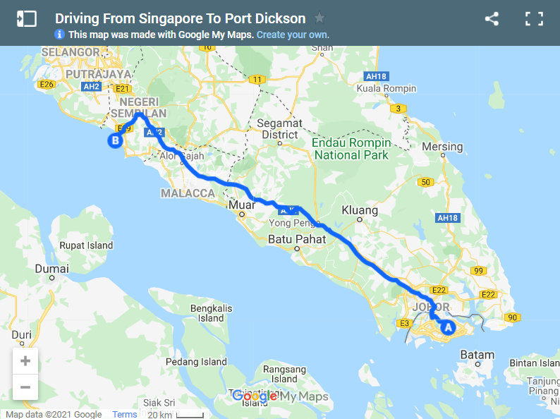 Driving From Singapore To Port Dickson map