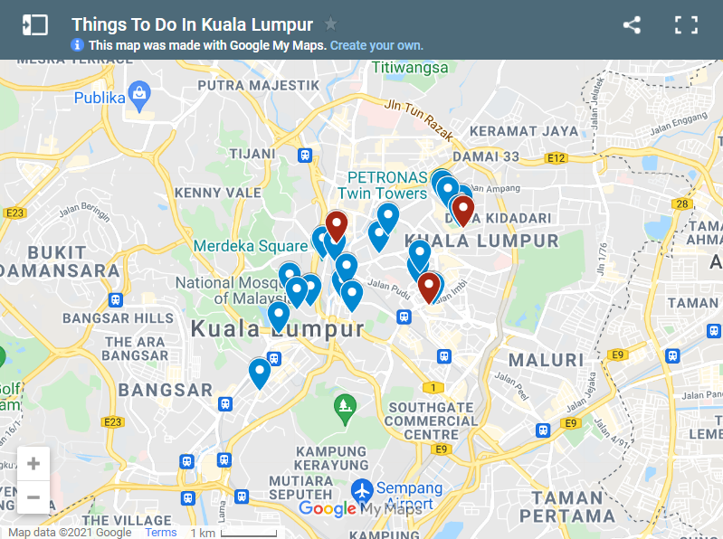 Things To Do In Kuala Lumpur in 3 Days map
