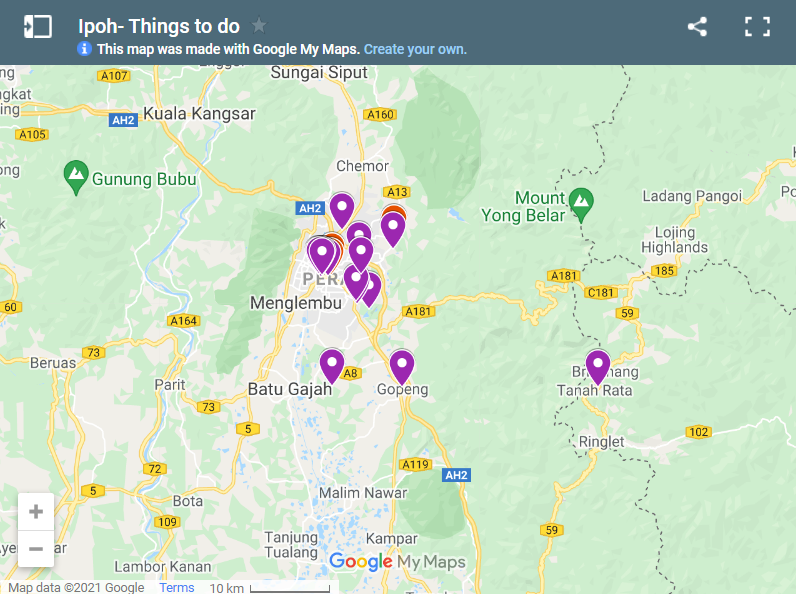 Things to do in Ipoh map