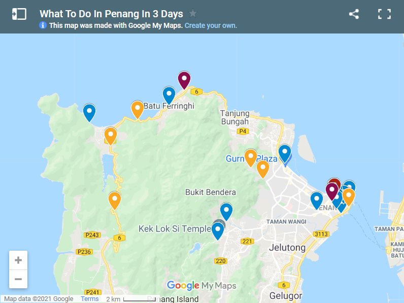 What To Do In Penang In 3 Days map