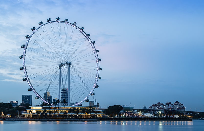 Singapore Flyer Ferris Wheel At Night View