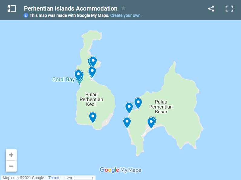 Perhentian Islands Acommodation map