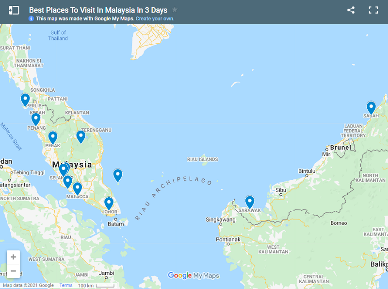 Best Places To Visit In Malaysia In 3 Days map