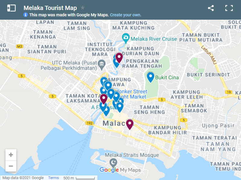 Best Places To Visit In Melaka map