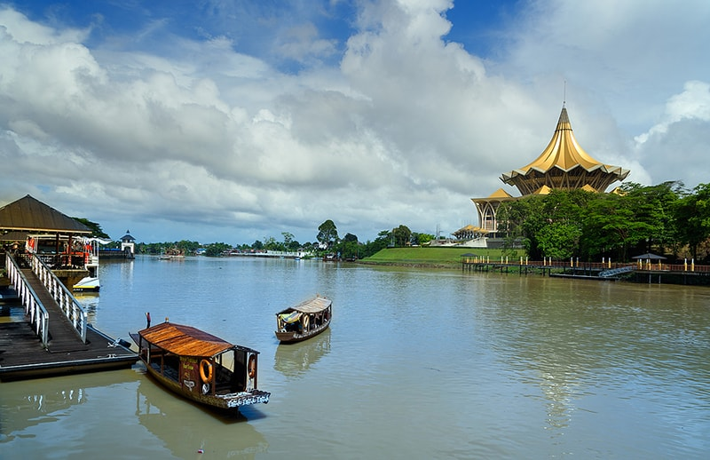 Traditional Boats On Sarawak River