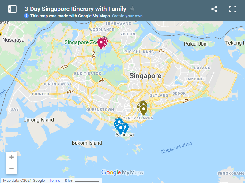 3-Day Singapore Itinerary with Family map