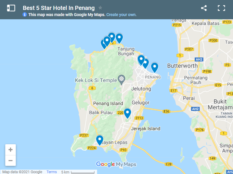 Best 5 Star Hotel In Penang map