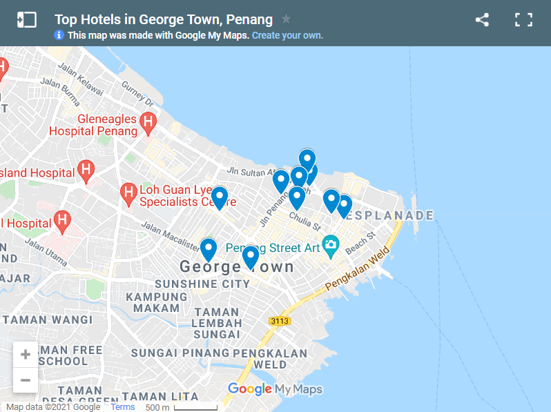 Best Hotels in George Town Penang map