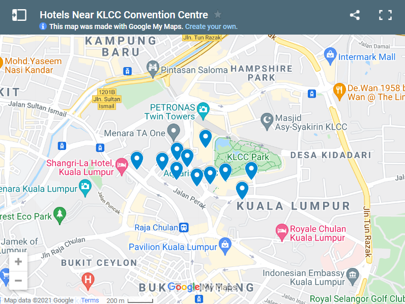 Hotels Near KLCC Convention Centre map