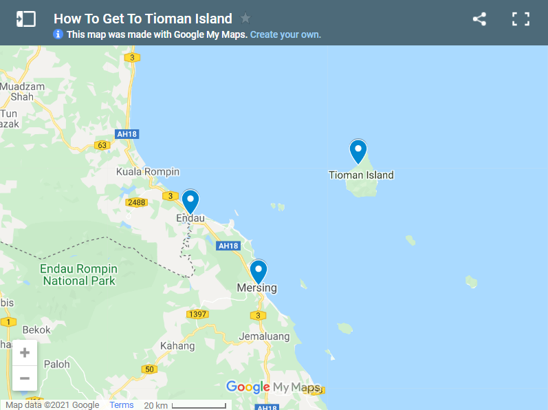 How To Get To Tioman Island map