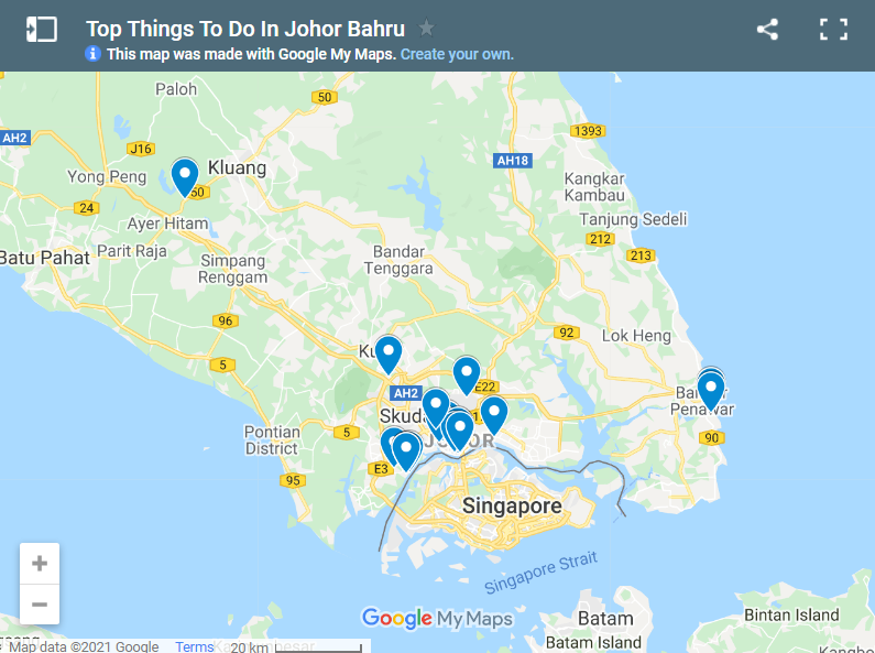 Top Things To Do In Johor Bahru map